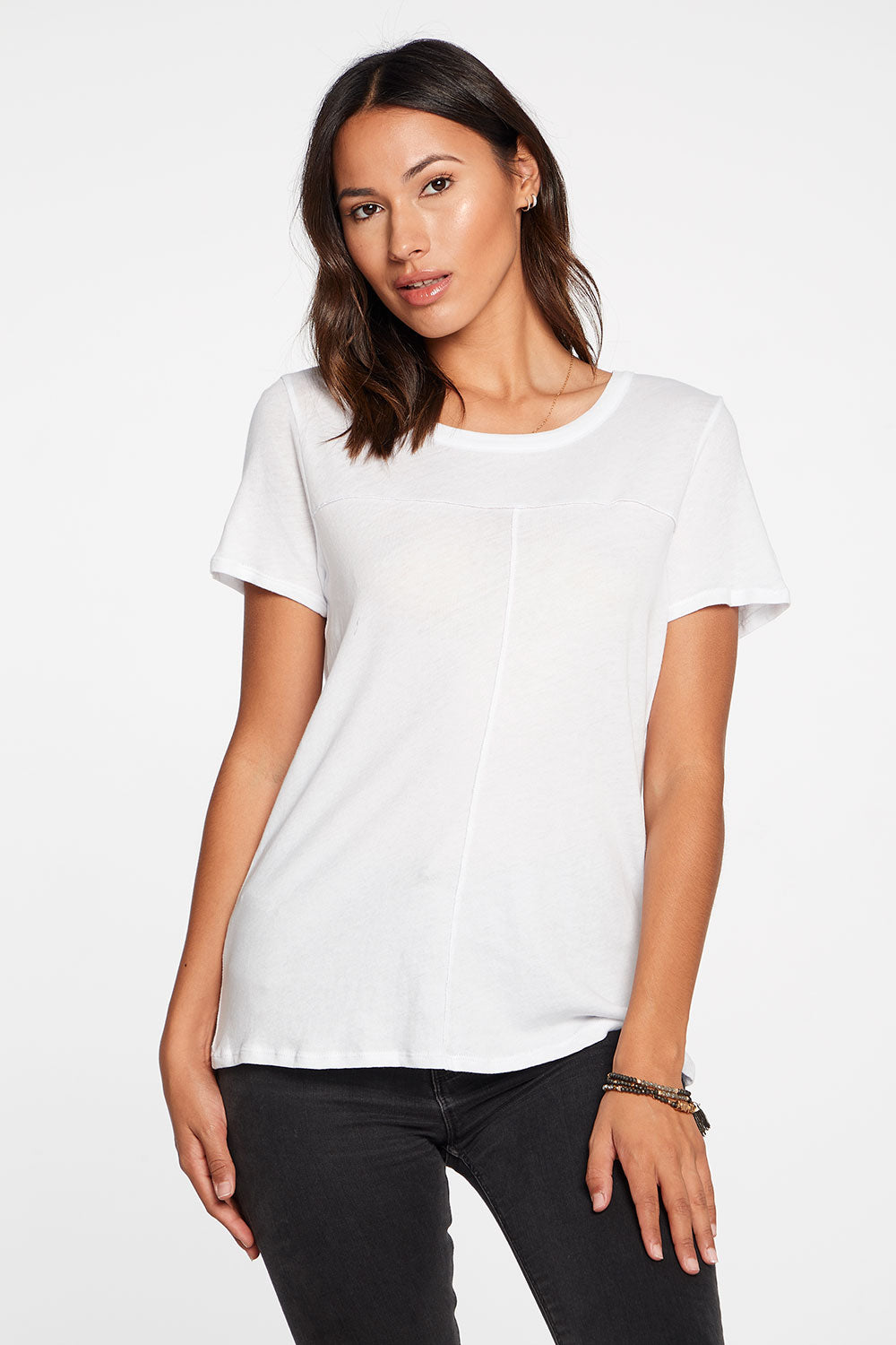 Gauzy Cotton Seamed Short Sleeve Tee in White