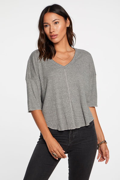 Triblend Jersey Short Sleeve V-Neck Drop Shoulder Shirttail Tee in Streaky Grey WOMENS chaserbrand4.myshopify.com