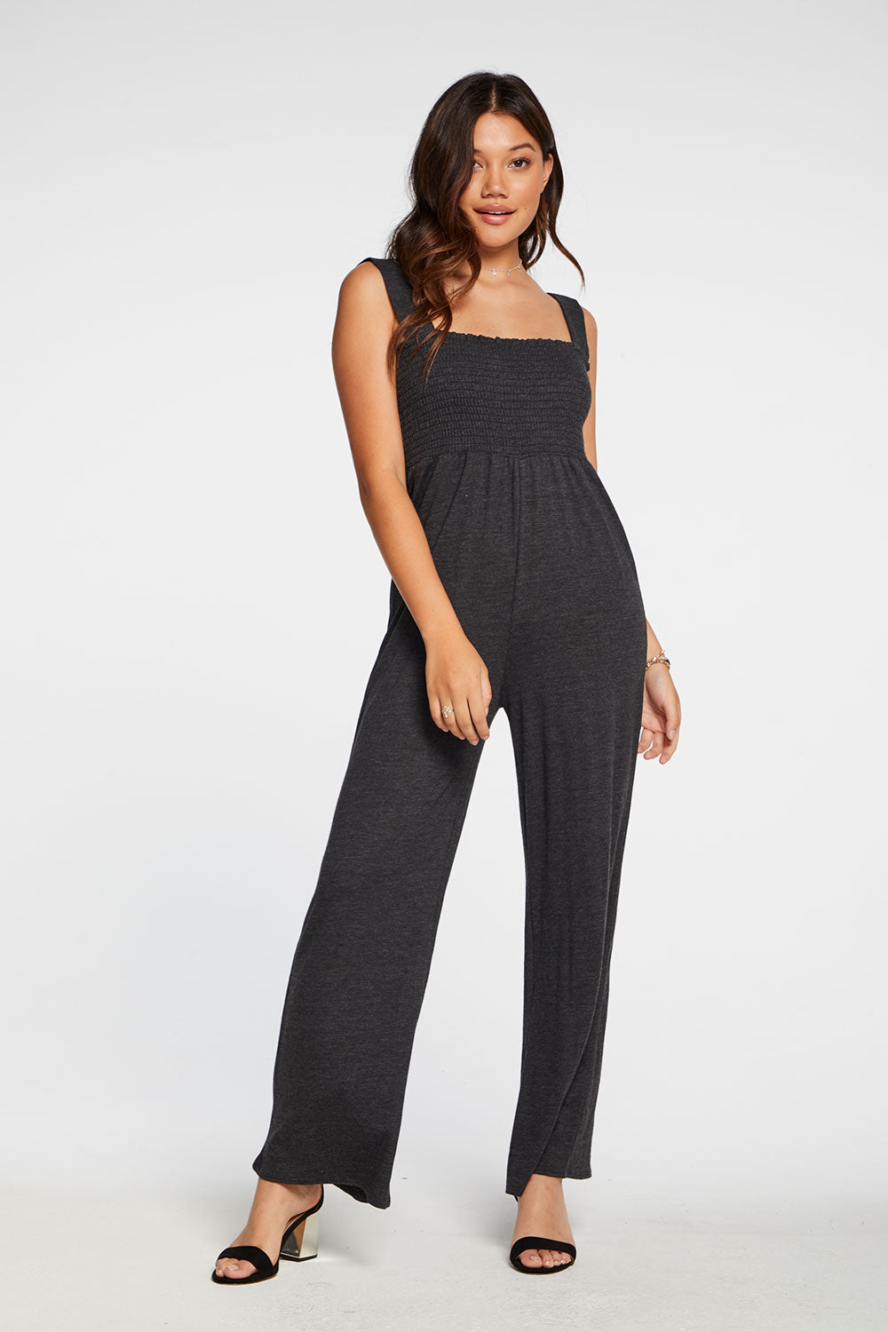 Triblend Jersey Wide Leg Smocked Cami Jumpsuit in Black WOMENS chaserbrand4.myshopify.com