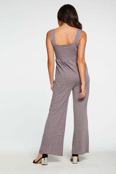 Triblend Jersey Wide Leg Smocked Cami Jumpsuit in Hydrangea WOMENS chaserbrand4.myshopify.com