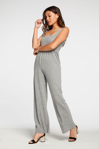Triblend Jersey Wide Leg Smocked Cami Jumpsuit in Streaky Grey WOMENS chaserbrand4.myshopify.com