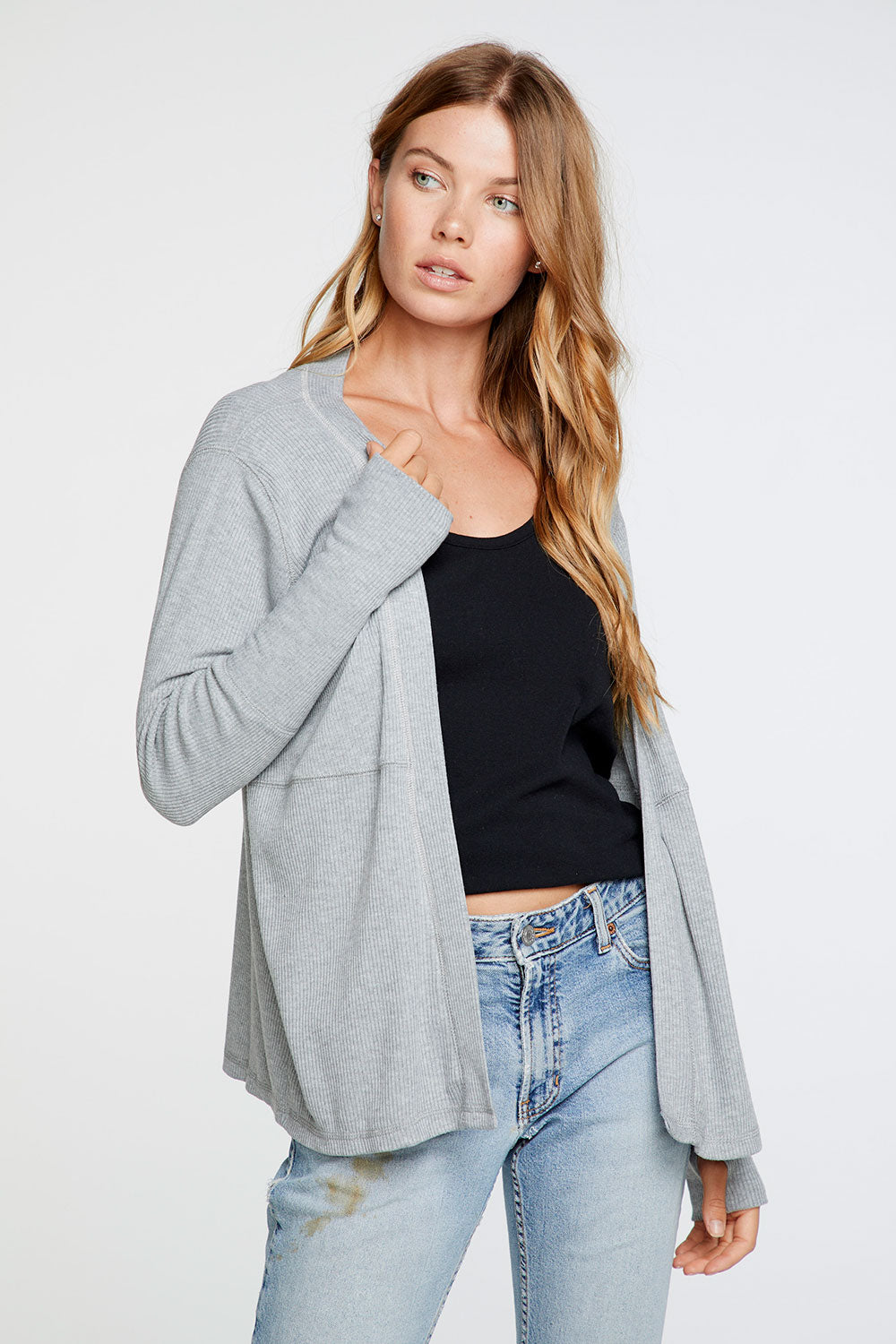 Cozy Rib Thumbhole Long Sleeve Open Cardigan in Heather Grey