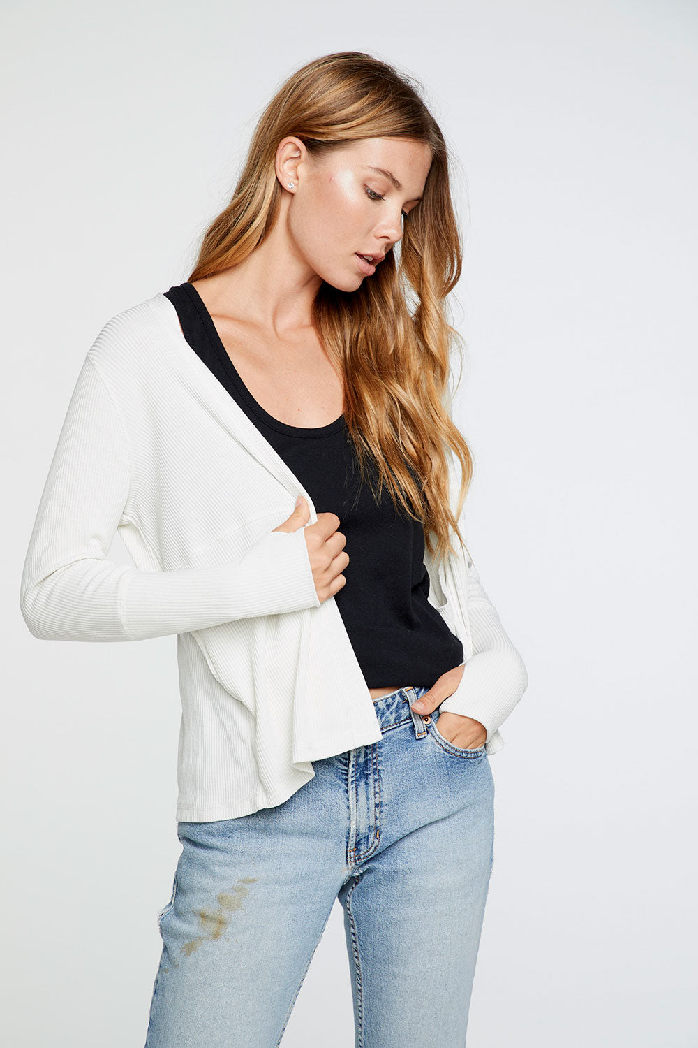 Cozy Rib Thumbhole Long Sleeve Open Cardigan in Jasmine