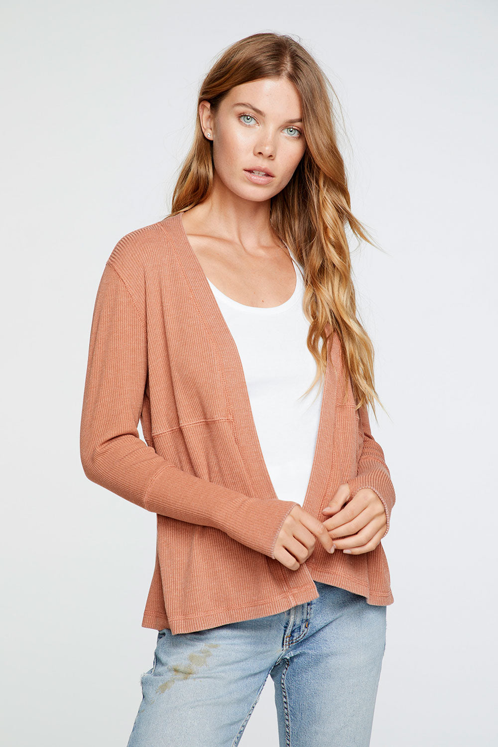 Cozy Rib Thumbhole Long Sleeve Open Cardigan in Sunkissed Brown