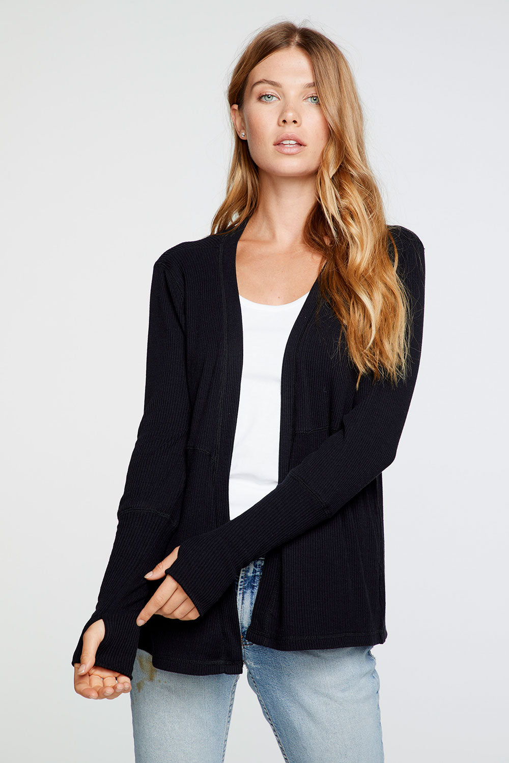 Cozy Rib Thumbhole Long Sleeve Open Cardigan in True Black