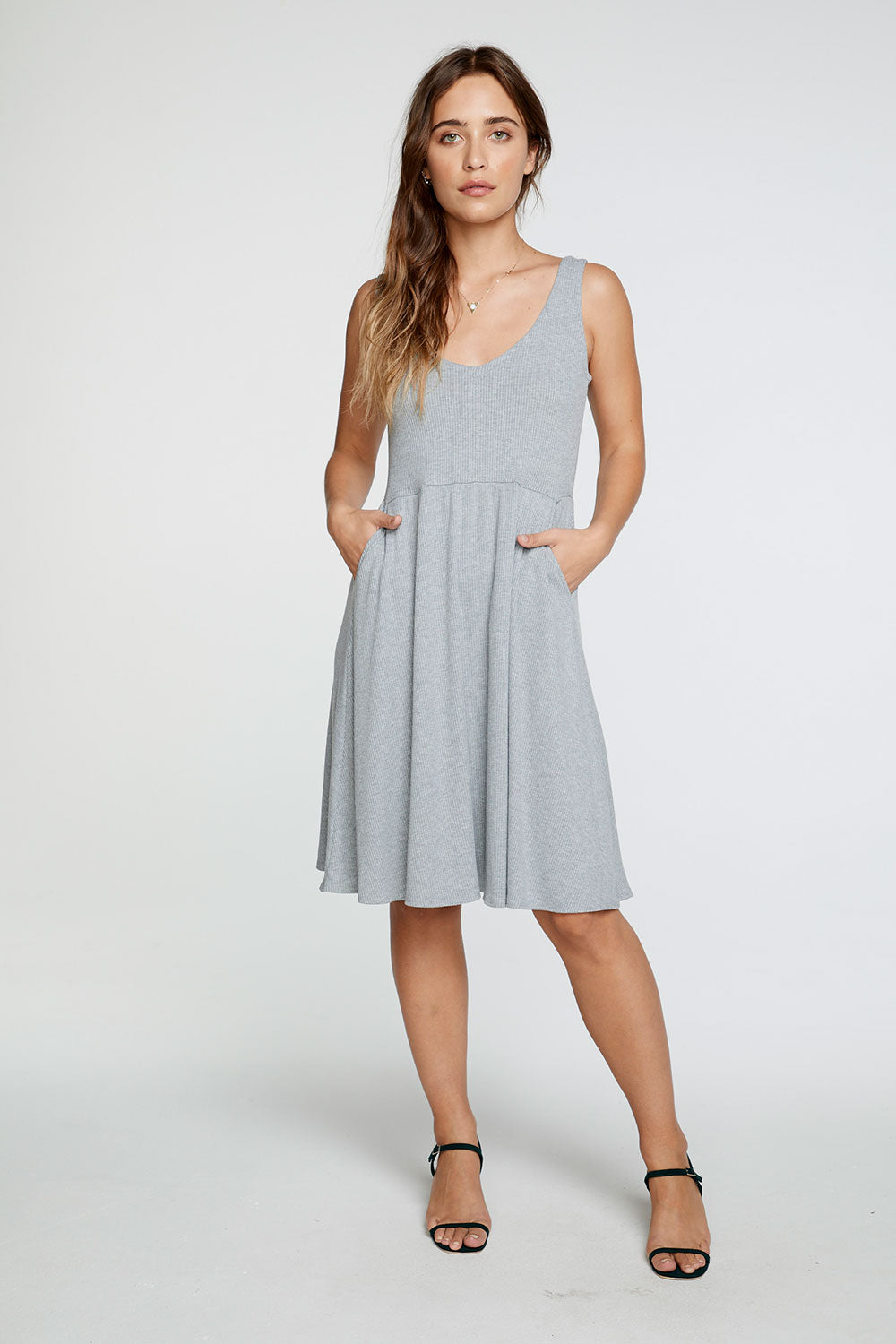 Cozy Rib Double V Tank Midi Dress in Heather Grey