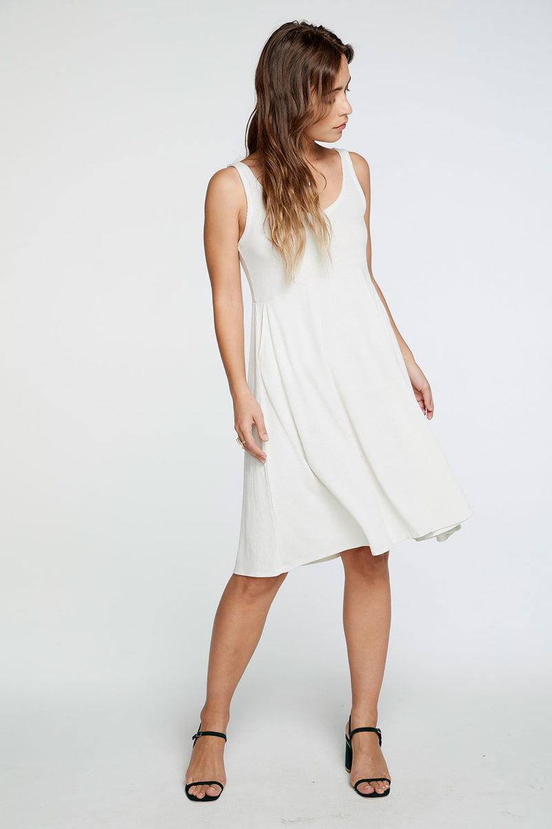 Cozy Rib Double V Tank Midi Dress in Jasmine