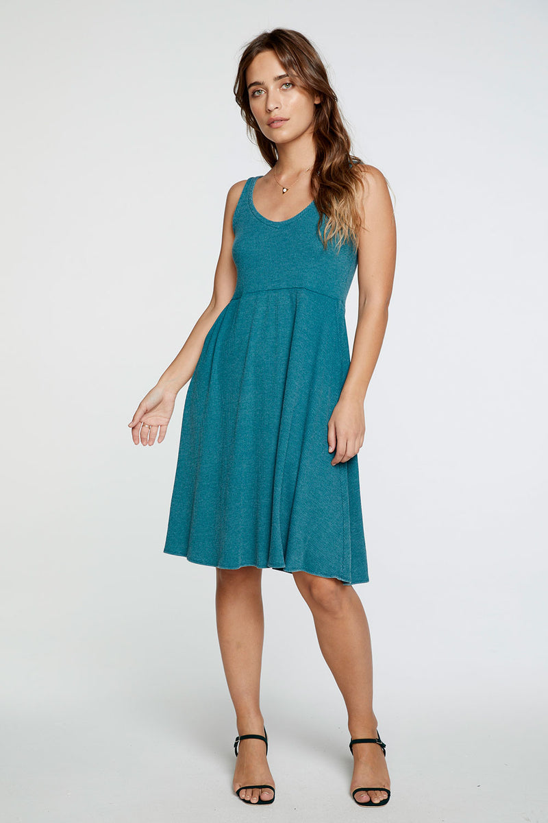 Cozy Rib Double V Tank Midi Dress in Moroccan Blue