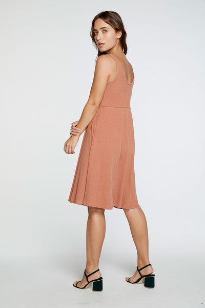 Cozy Rib Double V Tank Midi Dress in Sunkissed Brown