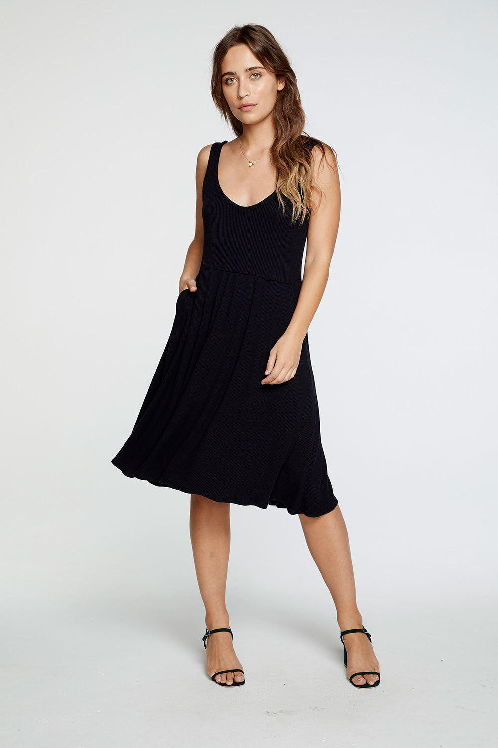 Cozy Rib Double V Tank Midi Dress in True Black