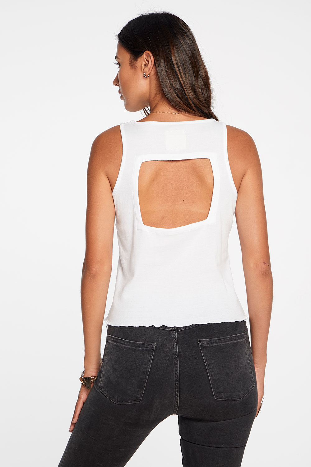 Baby Rib Cropped Vented Racerback Tank in White