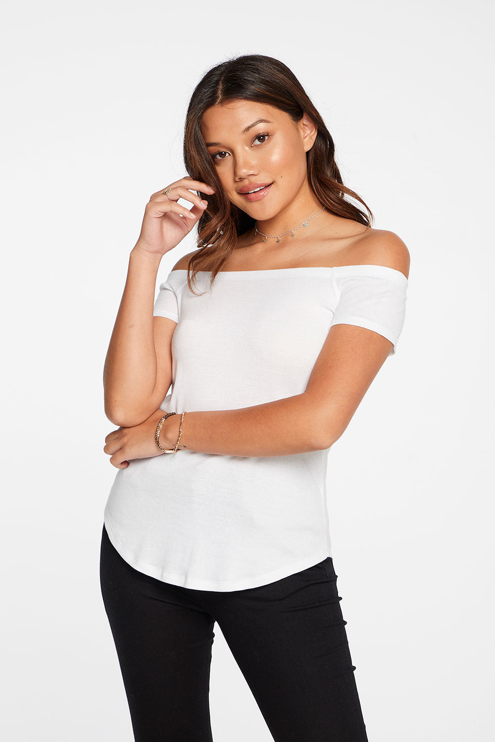 Baby Rib Off Shoulder Short Sleeve Shirttail Tee in White