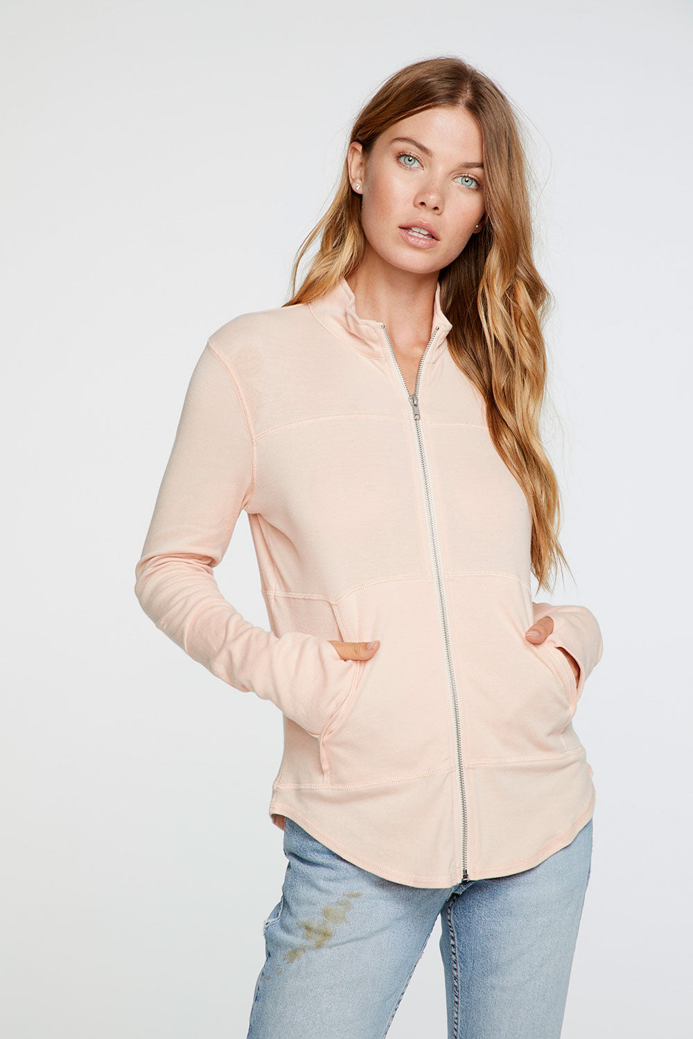 Baby Rib Mock Neck Long Sleeve Thumbhole Jacket in Flushed Peach
