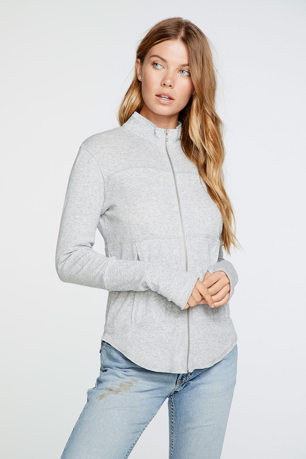 Baby Rib Mock Neck Long Sleeve Thumbhole Jacket in Heather Grey