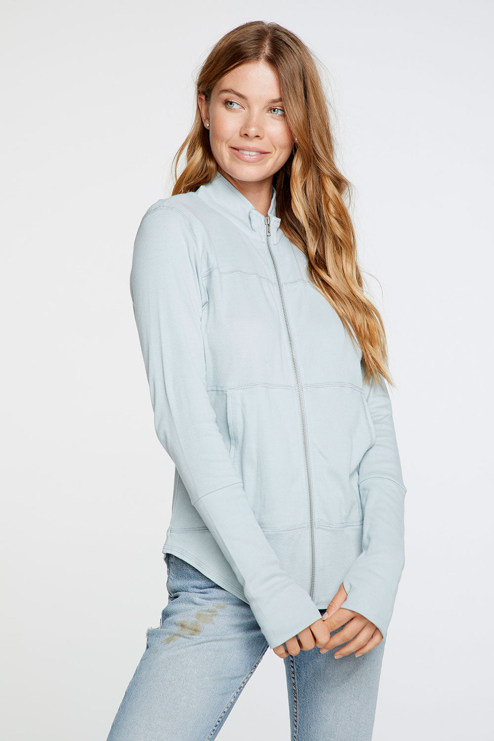 Baby Rib Mock Neck Long Sleeve Thumbhole Jacket in Powder Blue