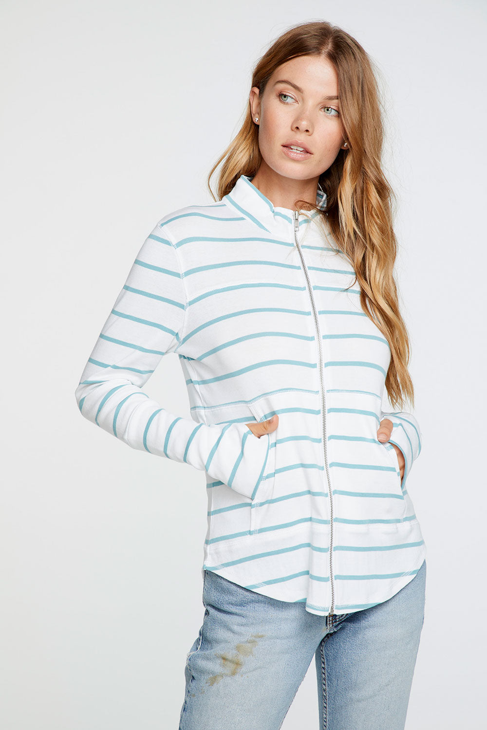 Baby Rib Mock Neck Long Sleeve Thumbhole Jacket in Stripe
