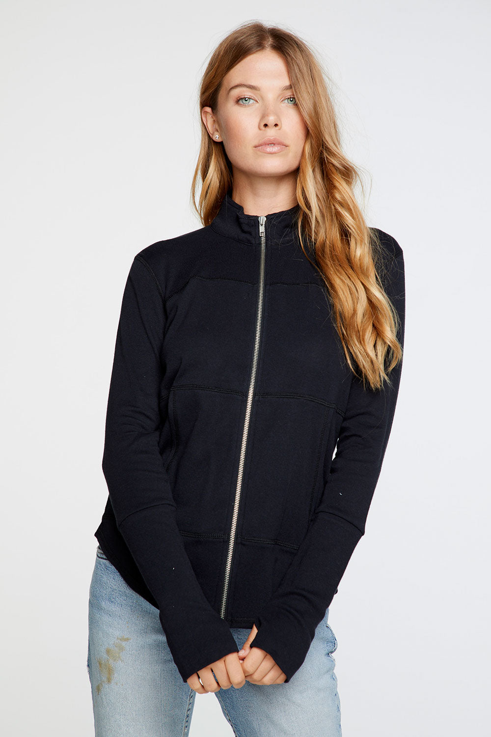 Baby Rib Mock Neck Long Sleeve Thumbhole Jacket in True Black