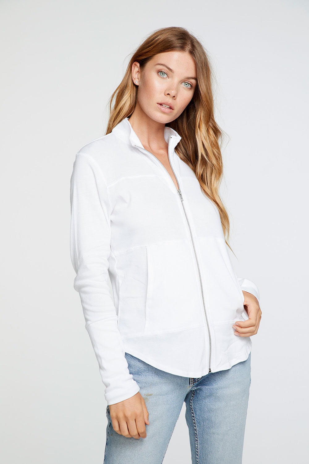 Baby Rib Mock Neck Long Sleeve Thumbhole Jacket in White