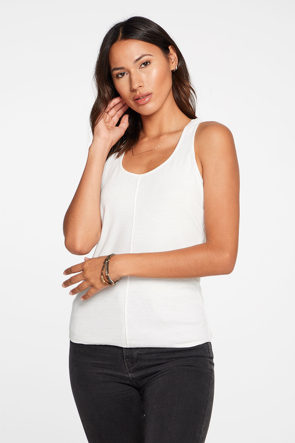 Linen Rib Seamed Racer Back Tank in White