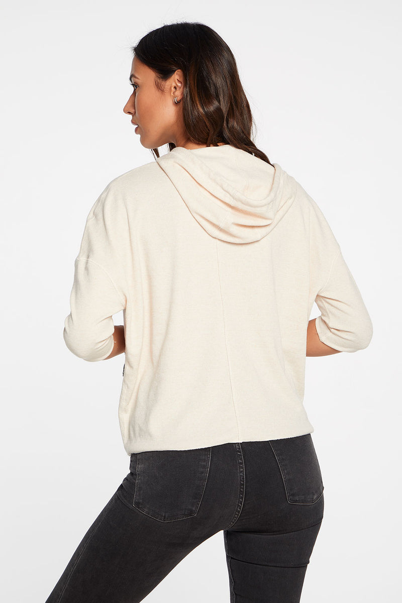 Linen Rib 3/4 Sleeve Pullover Hoodie in Glowing White