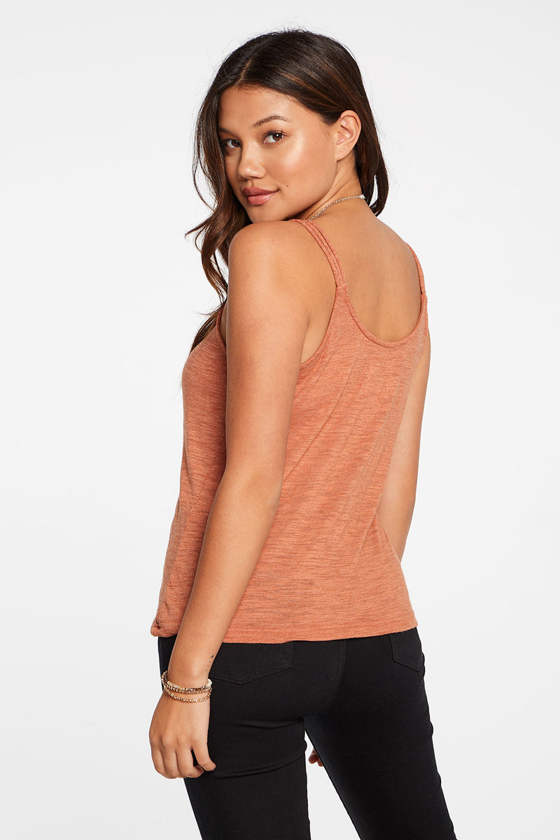 Slub Jersey Strappy Double Scoop Cami in Sunkissed Brown