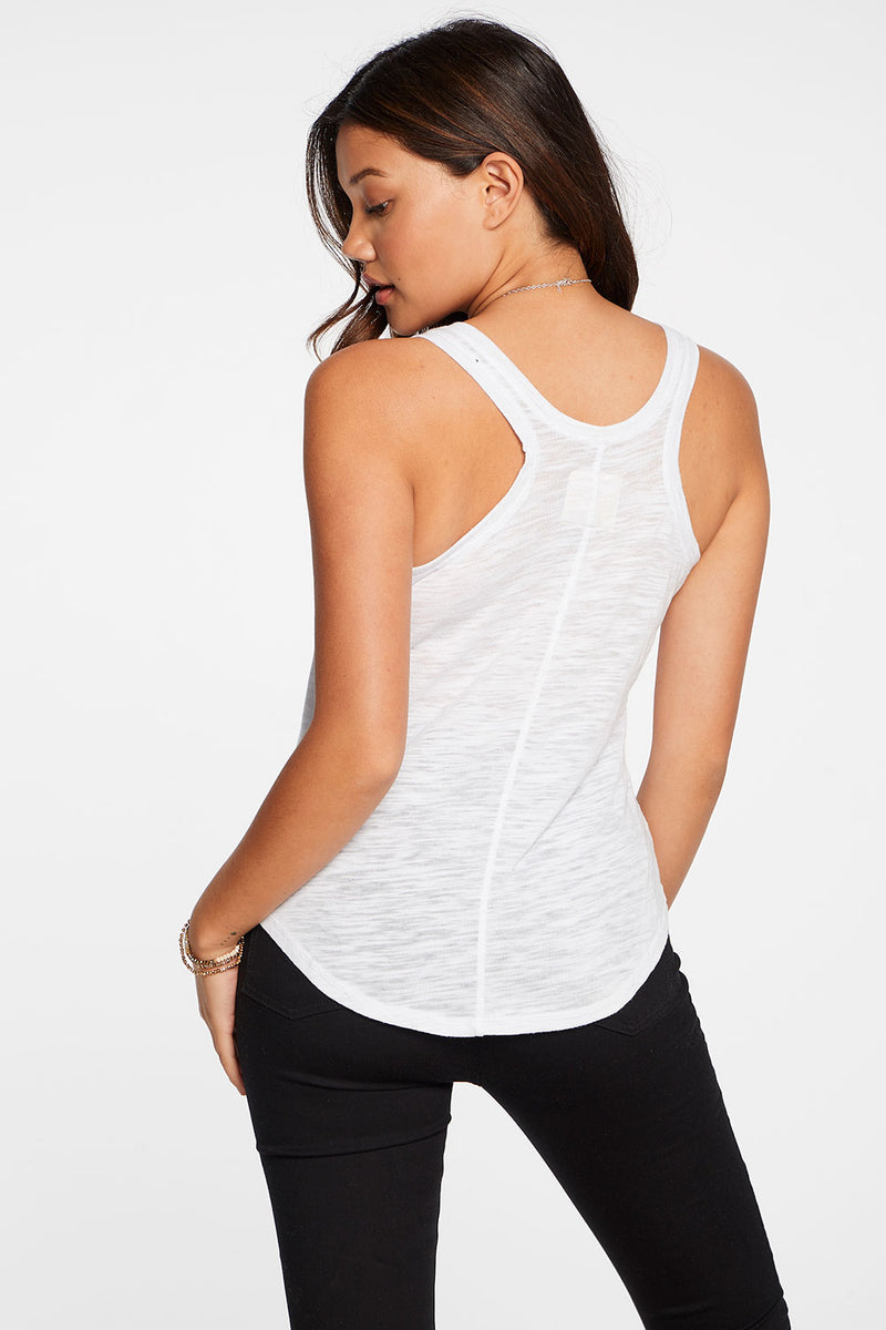 Slub Jersey Seamed Racerback Shirttail Tank in White