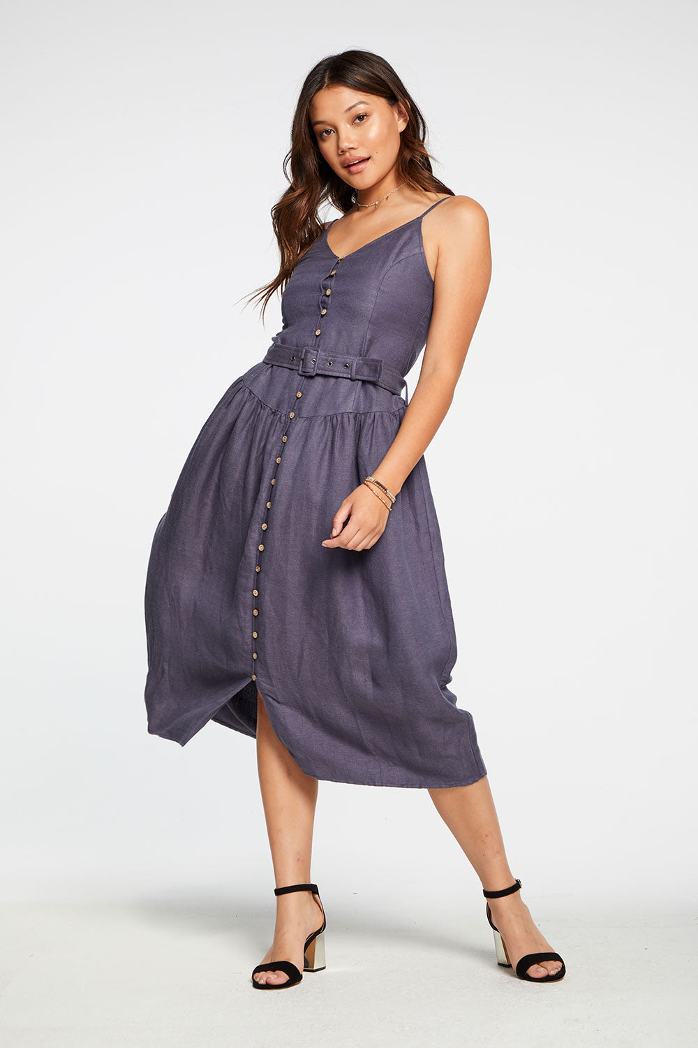 Beachy Linen Cami Midi Dress With Belt in Newport Blue