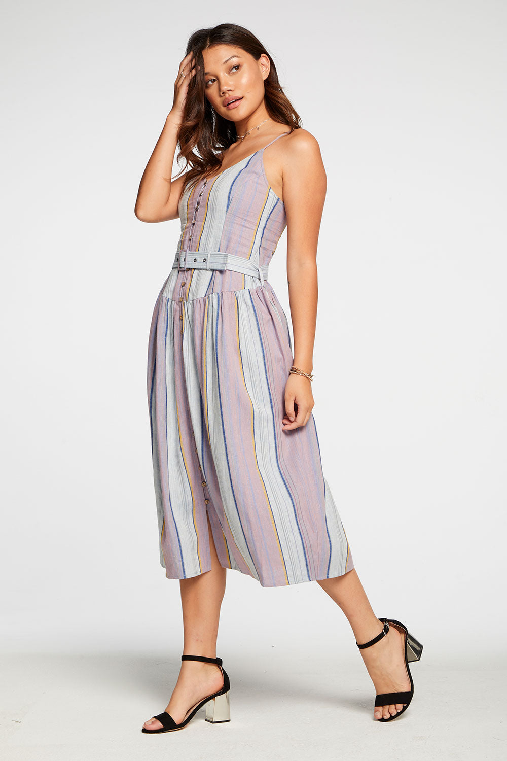 Beachy Linen Cami Midi Dress With Belt in Stripe