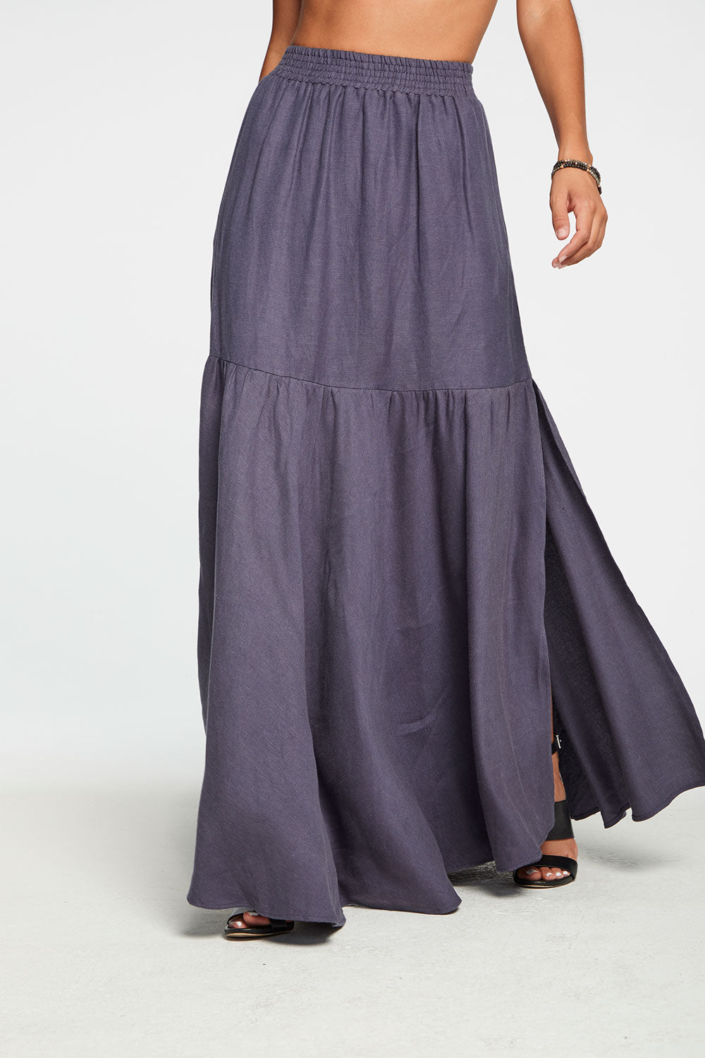 Beachy Linen Tiered Side Slit Maxi Skirt in Newport Blue