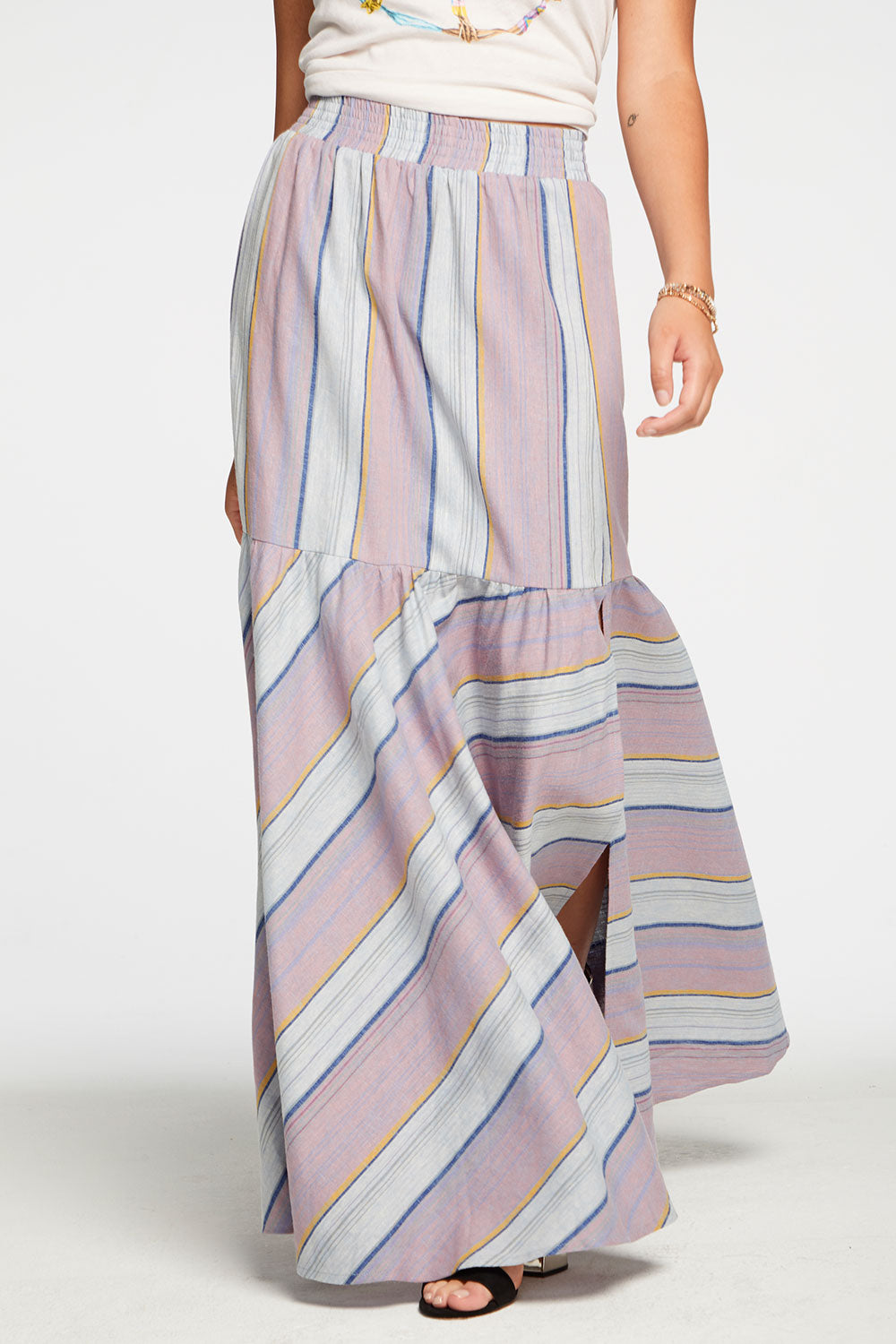 Beachy Linen Tiered Side Slit Maxi Skirt in Stripe WOMENS chaserbrand4.myshopify.com