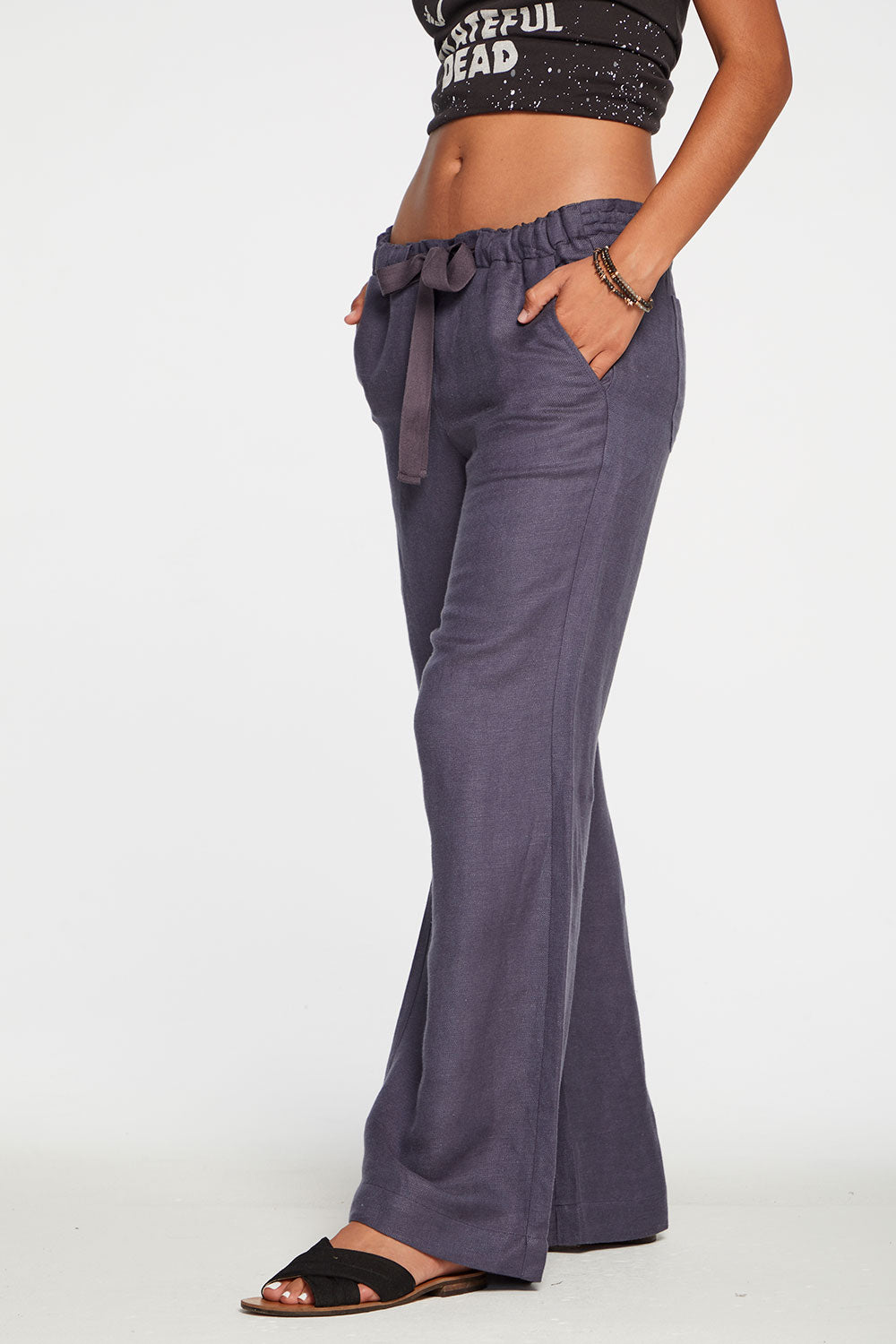 Beachy Linen Easy Drawstring Pant in Newport Blue