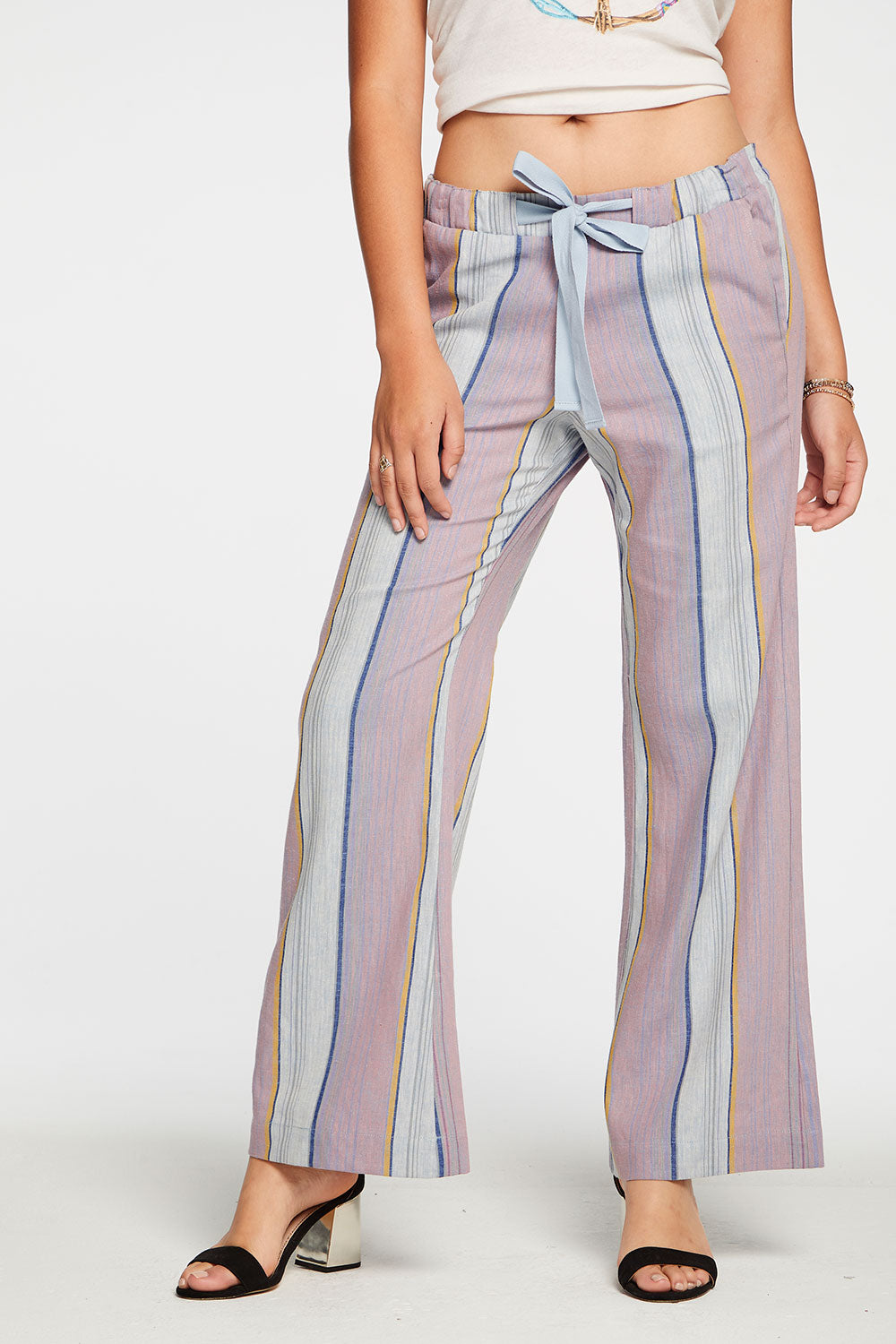Beachy Linen Easy Drawstring Pant in Stripe