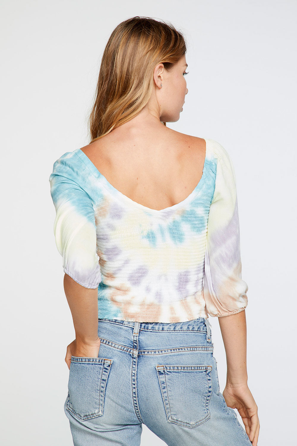 Heirloom Gauze Smocked Double V Peasant Top in Tie Dye WOMENS chaserbrand4.myshopify.com