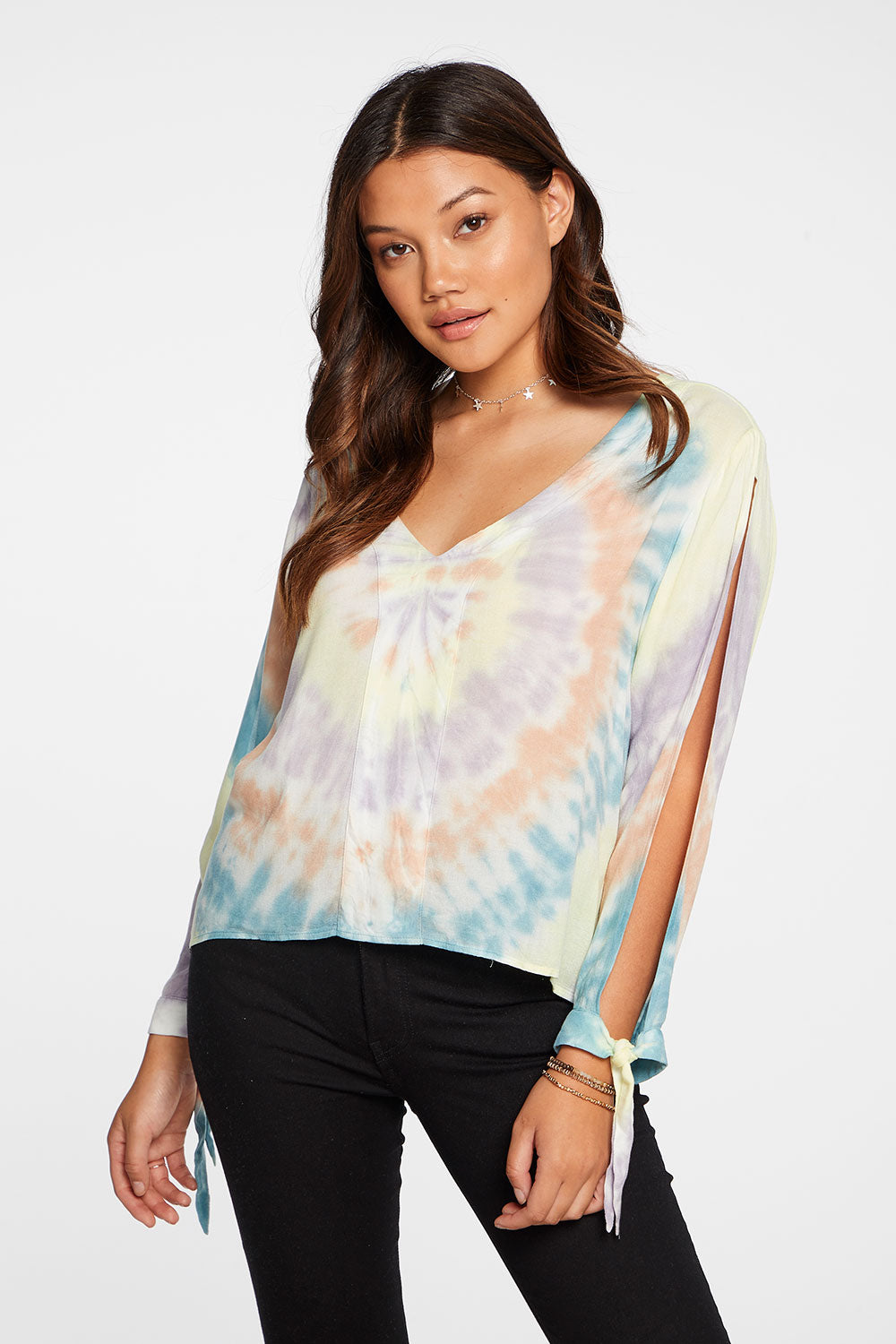 Heirloom Gauze Long Sleeve V-Neck Blouse With Ties in Tie Dye
