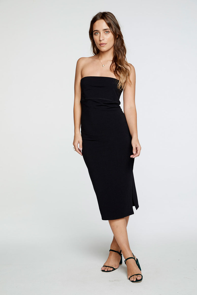Quadrablend Strapless Slit Bodycon Midi Dress in True Black