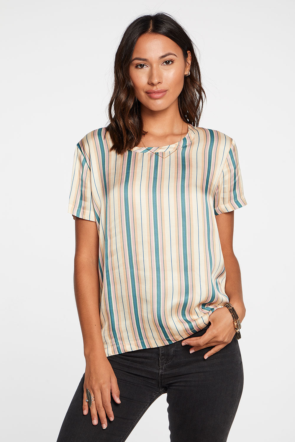 Silky Basics Short Sleeve Easy Tee in Stripe