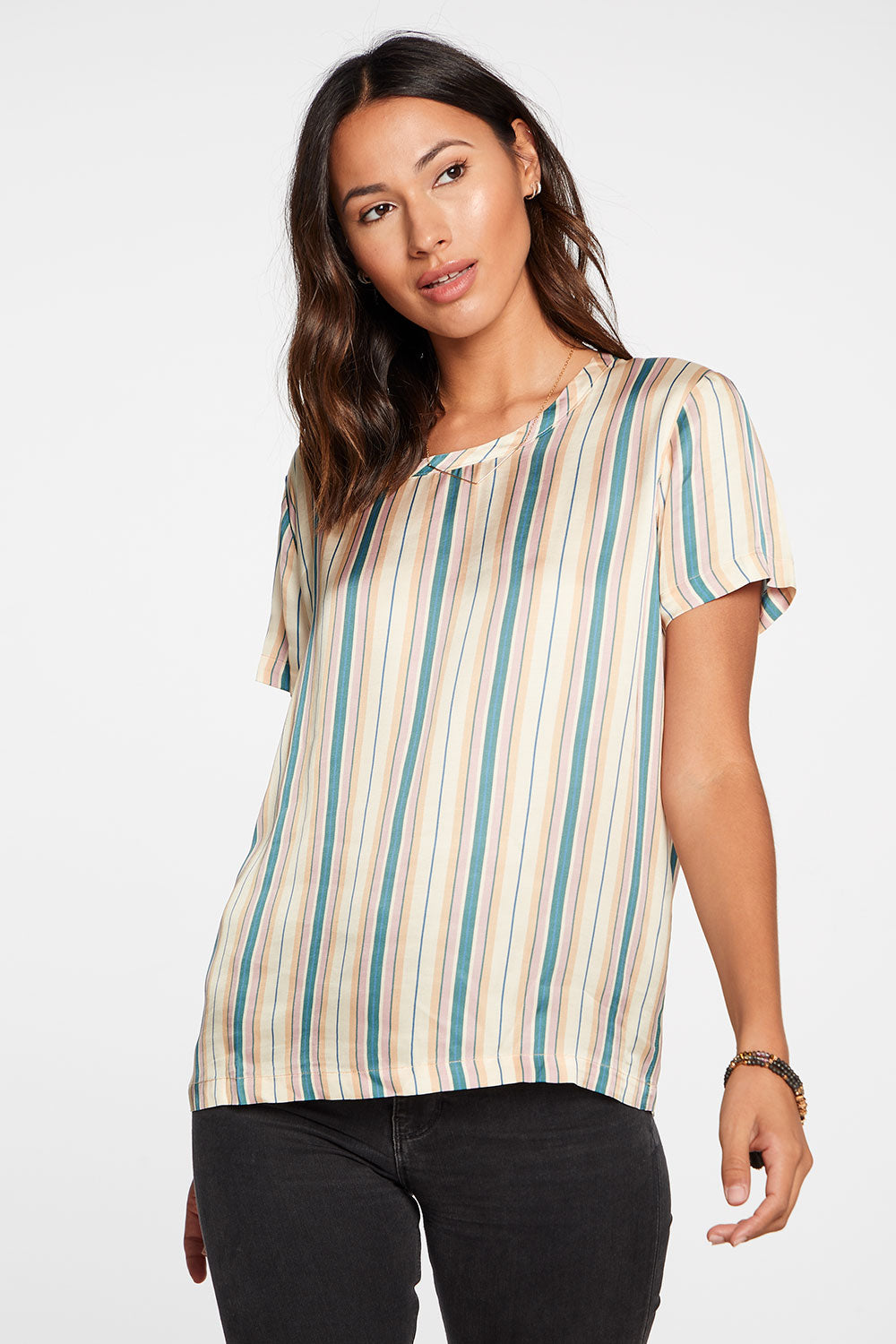 Silky Basics Short Sleeve Easy Tee in Stripe WOMENS chaserbrand4.myshopify.com