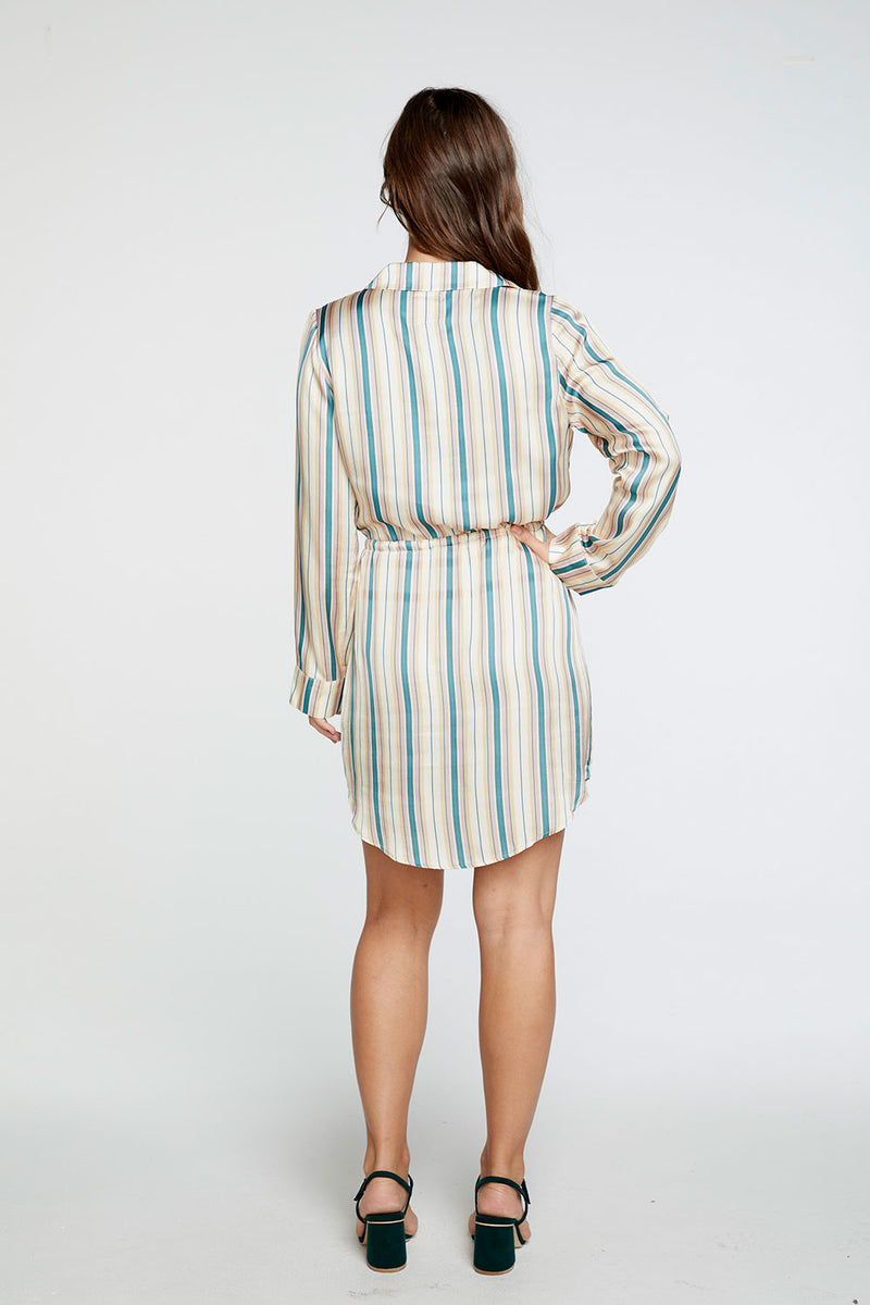 Silky Basics Long Sleeve Collared Surplice Dress in Stripe