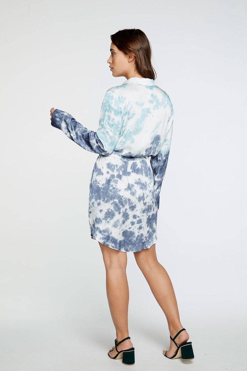 Silky Basics Long Sleeve Collared Surplice Dress in Tie Dye