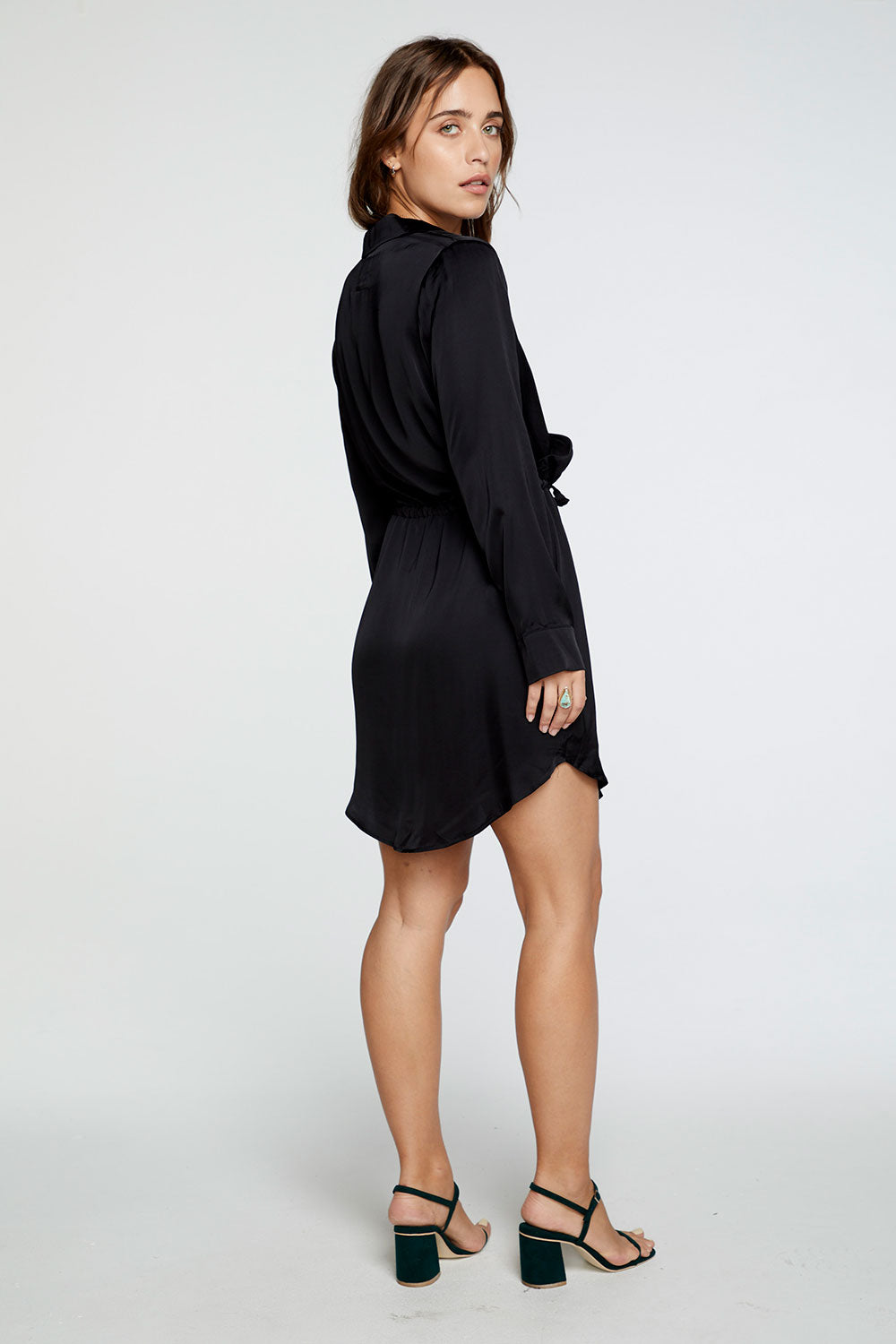 Silky Basics Long Sleeve Collared Surplice Dress in True Black