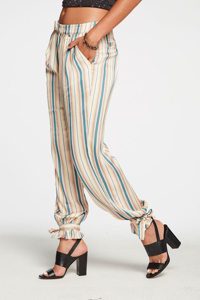 Silky Basics Tapered Tie Ankle Pant in Stripe