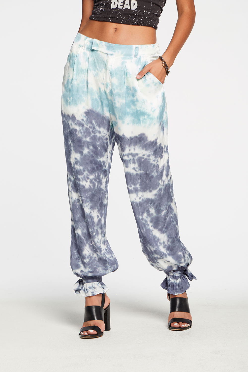 Silky Basics Tapered Tie Ankle Pant in Tie Dye