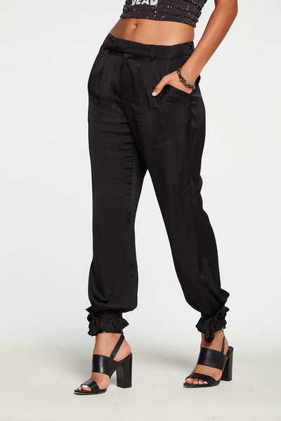Silky Basics Tapered Tie Ankle Pant in True Black
