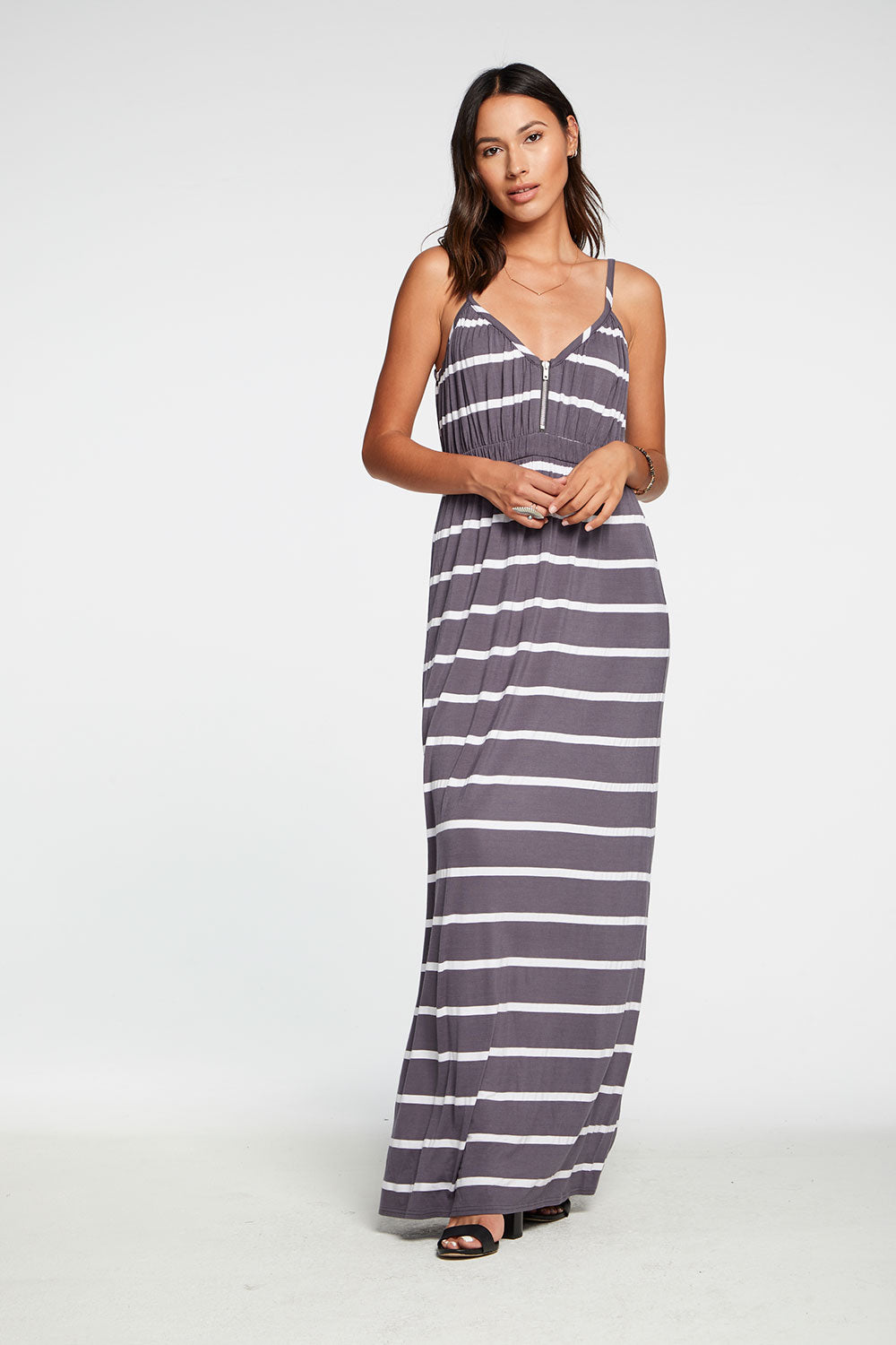 Cool Jersey Shirred Double V Cami Maxi Dress in Stripe WOMENS chaserbrand4.myshopify.com
