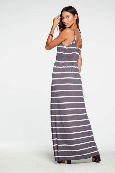 Cool Jersey Shirred Double V Cami Maxi Dress in Stripe