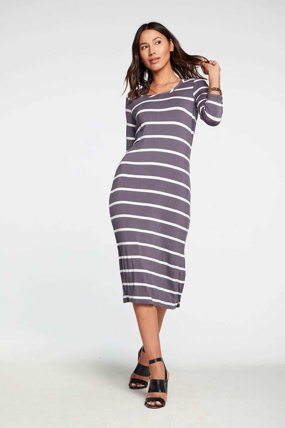 Cool Jersey Long Sleeve Slit Side Midi Dress in Stripe