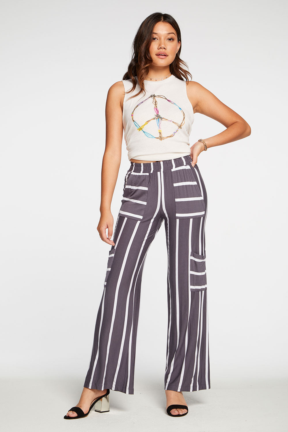 Cool Jersey Wide Leg Boating Pant in Stripe