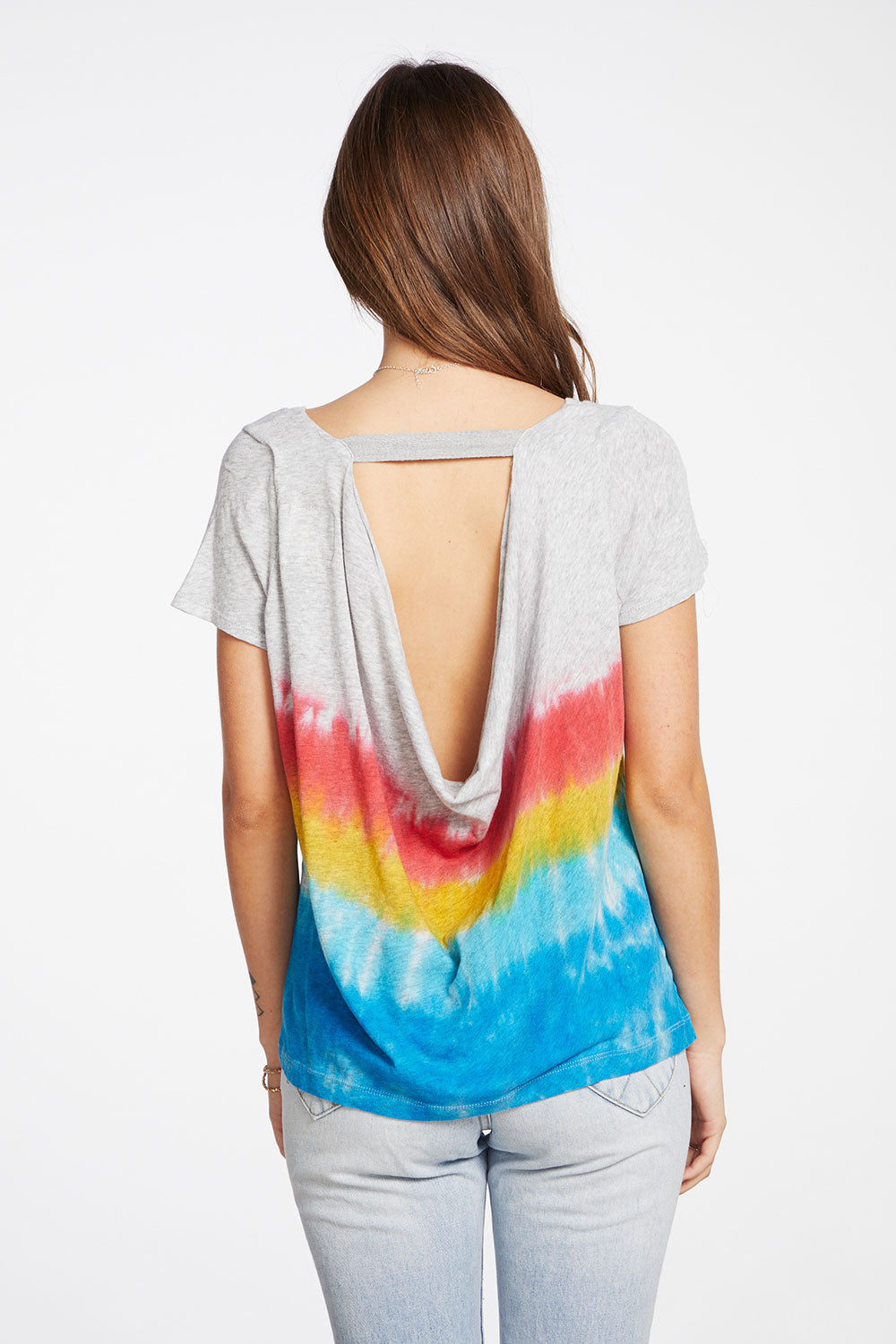 Gauzy Cotton Short Sleeve V Neck Drape Back Tee with Twill Tap