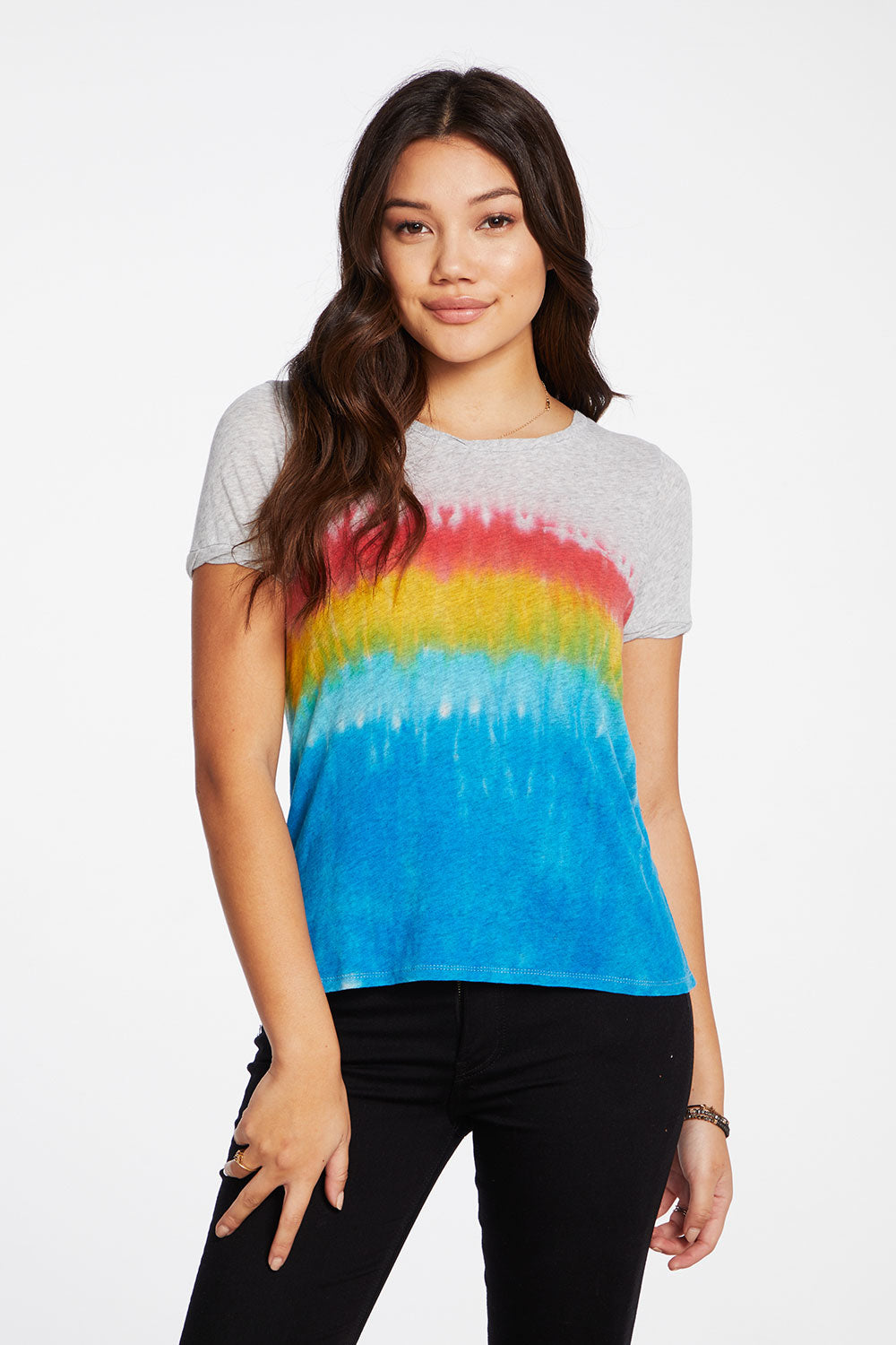 Gauzy Cotton Rolled Short Sleeve Hi Lo Twisted Rolled Tee