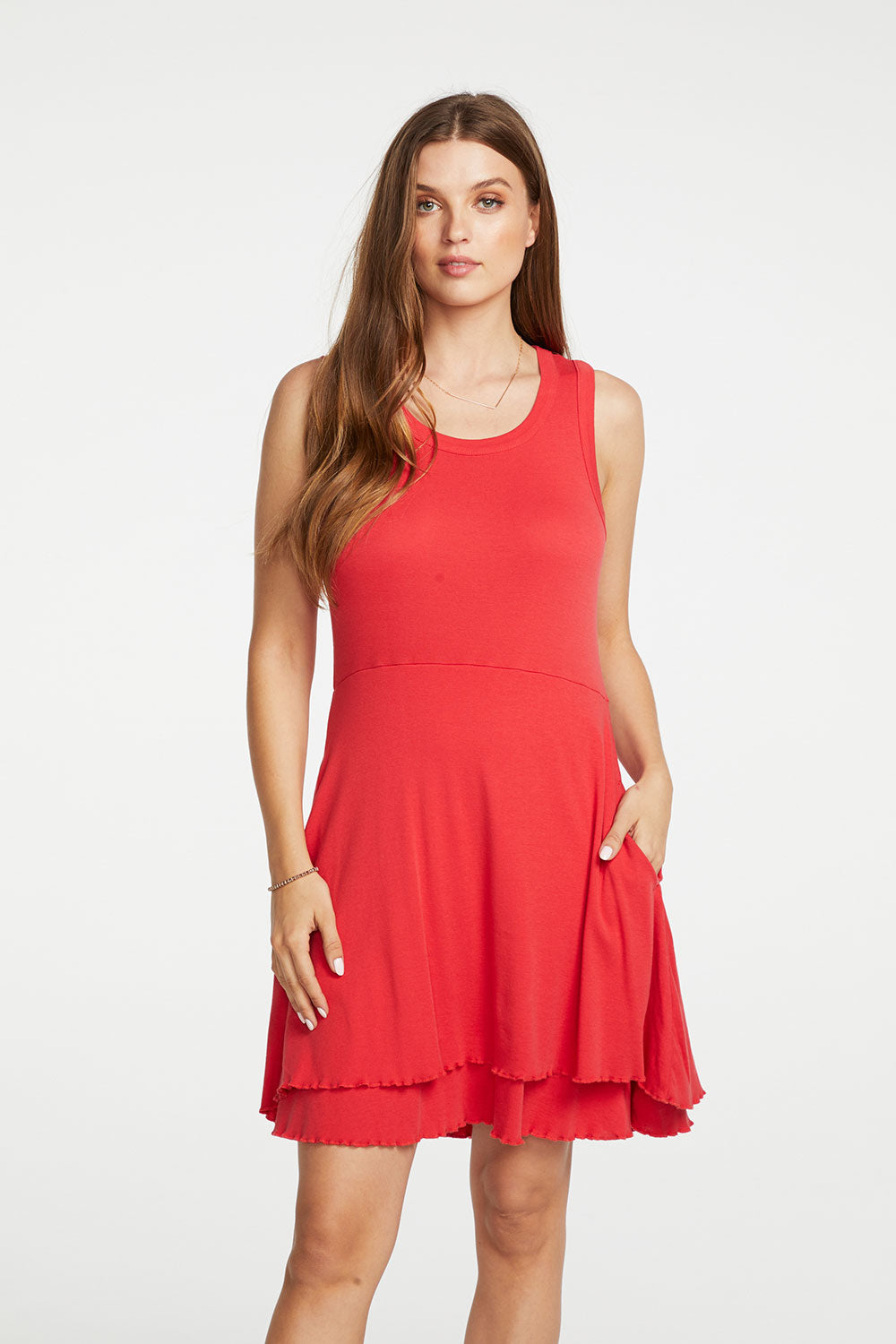 Baby Rib Waisted Hi Lo Tank Dress